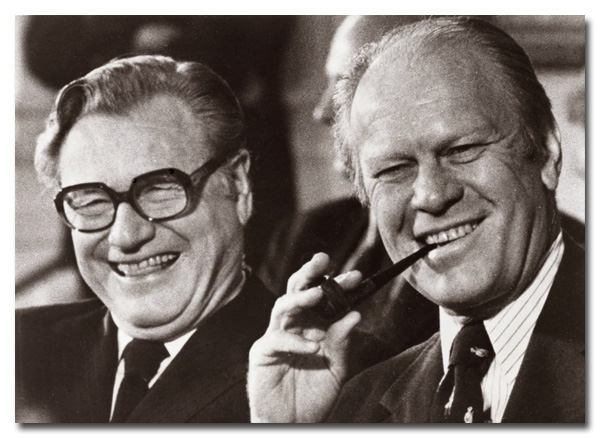 Nelson Rockefeller with President Gerald Ford in an undated photo, via NSA archives.